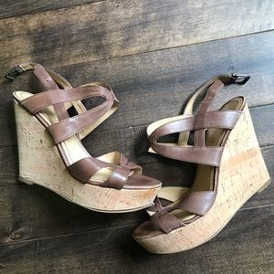 Nine West Leather and Cork Wedges